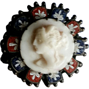 Coral Cameo within Mosaic Silver Frame Brooch