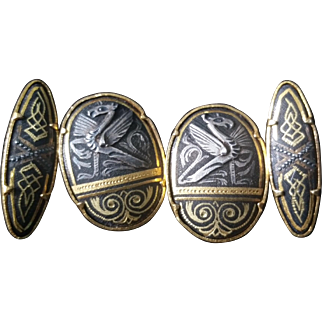 Mixed Metal Cufflinks Damascene Dragons Carved Silver