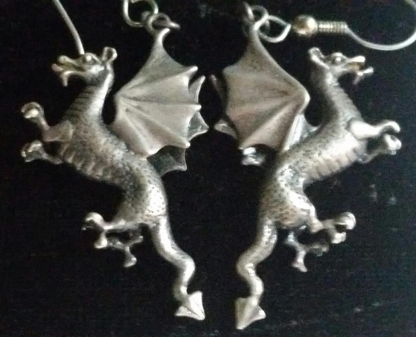 Sterling Silver Dragon Earrings SUPER COOL!