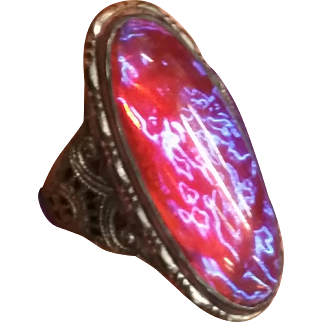 Dragons Breath Sterling Filigree Ring sz 5 1/4