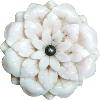 Carved Victorian Flower brooch
