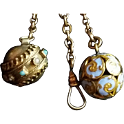 2 gf Victorian fobs Enamel & Turquoise Pearl on chain