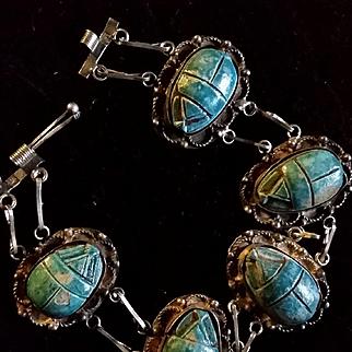 Egyptian Faence & Silver bracelet w/ Scarabs
