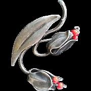 Sterling Silver Hans Teppich brooch floral