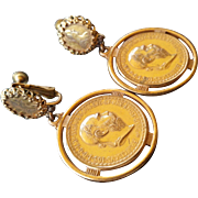 Mariam Haskell Coin Earrings