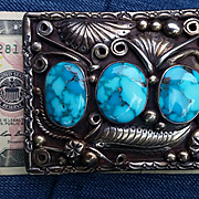 Silver  & Blue Bisbee Turquoise Buckle by H Daniel