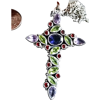 Jeweled Cross in Sterling Silver Amethyst, Blue & green