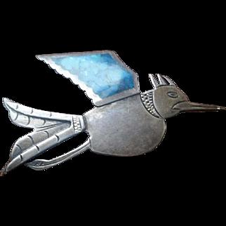 G.Laffi sterling Silver Turquoise  Enamel Bird Brooch