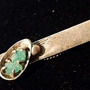 Mid Century Macefield Tie Clasp Green Stone