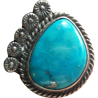 Silver  & Turquoise Navajo Ring