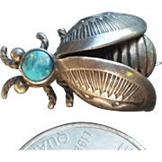 Navajo Silver Turquoise Insect Bee Pin