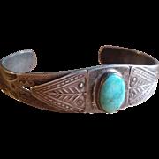 Pre WWII Navajo Silver & Turquoise Bracelet