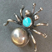 Silver Turquoise Spider Brooch Native American