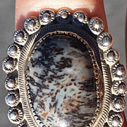 Older Navajo Petrified Wood & Silver Ring