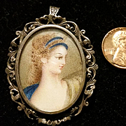 Romantic Ornately Framed Painted Portrait Pendant