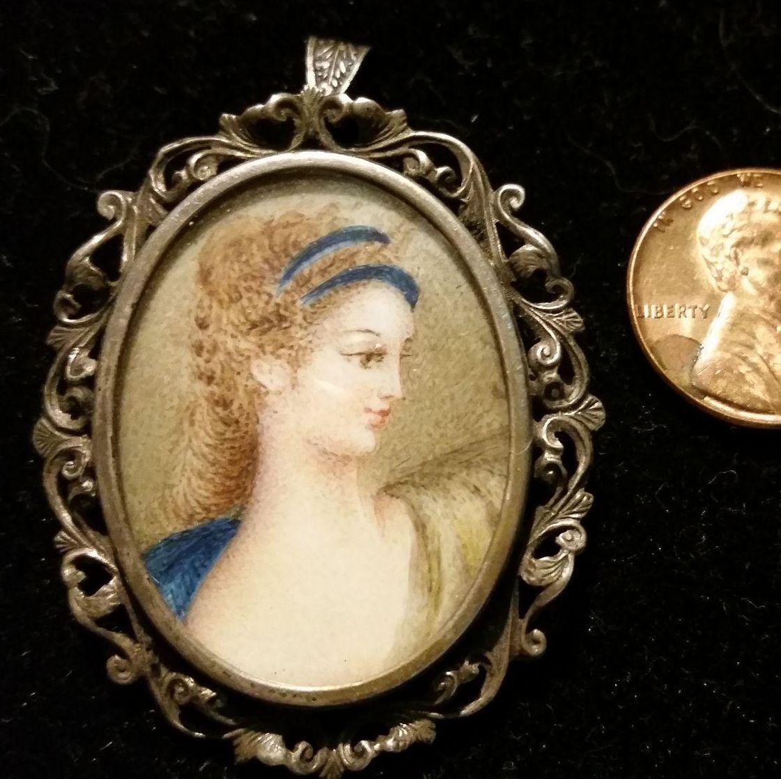 Romantic Ornately Framed Painted Portrait Pendant