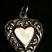Sterling Silver Nouveau Double Sided  Puffy Heart Charm