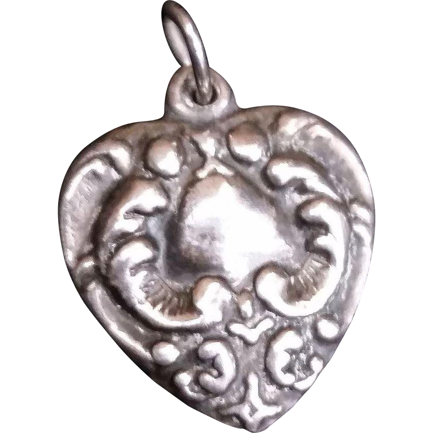 Sterling Silver Nouveau Puffy Heart Charm
