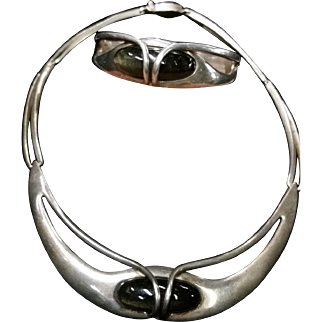 Mid Century Style Erika Hult de Corral RIC Taxco Necklace & Bracelet Sterling & Obsidian