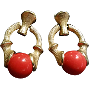 Sarah Coventry Coral & Gold Tone Earrings