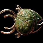 Gold Filled Stone Scarab Fish Pin