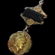 Homeric Etruscan Medallion Fob 14k Gold & Sterling
