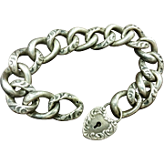 Victorian Sterling Puffy Padlock Bracelet