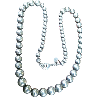 Heavy Sterling Silver Pearl Beads by Tiffany