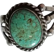Turquoise & Silver Navajo Ring sz8