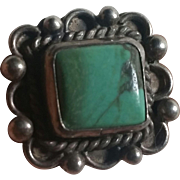 Turquoise & Silver ring w/ Square Stone
