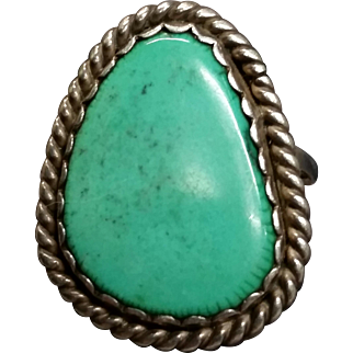 Silver & Turquoise ring sz11