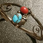 Southwestern Silver Coral Turquoise Bracelet