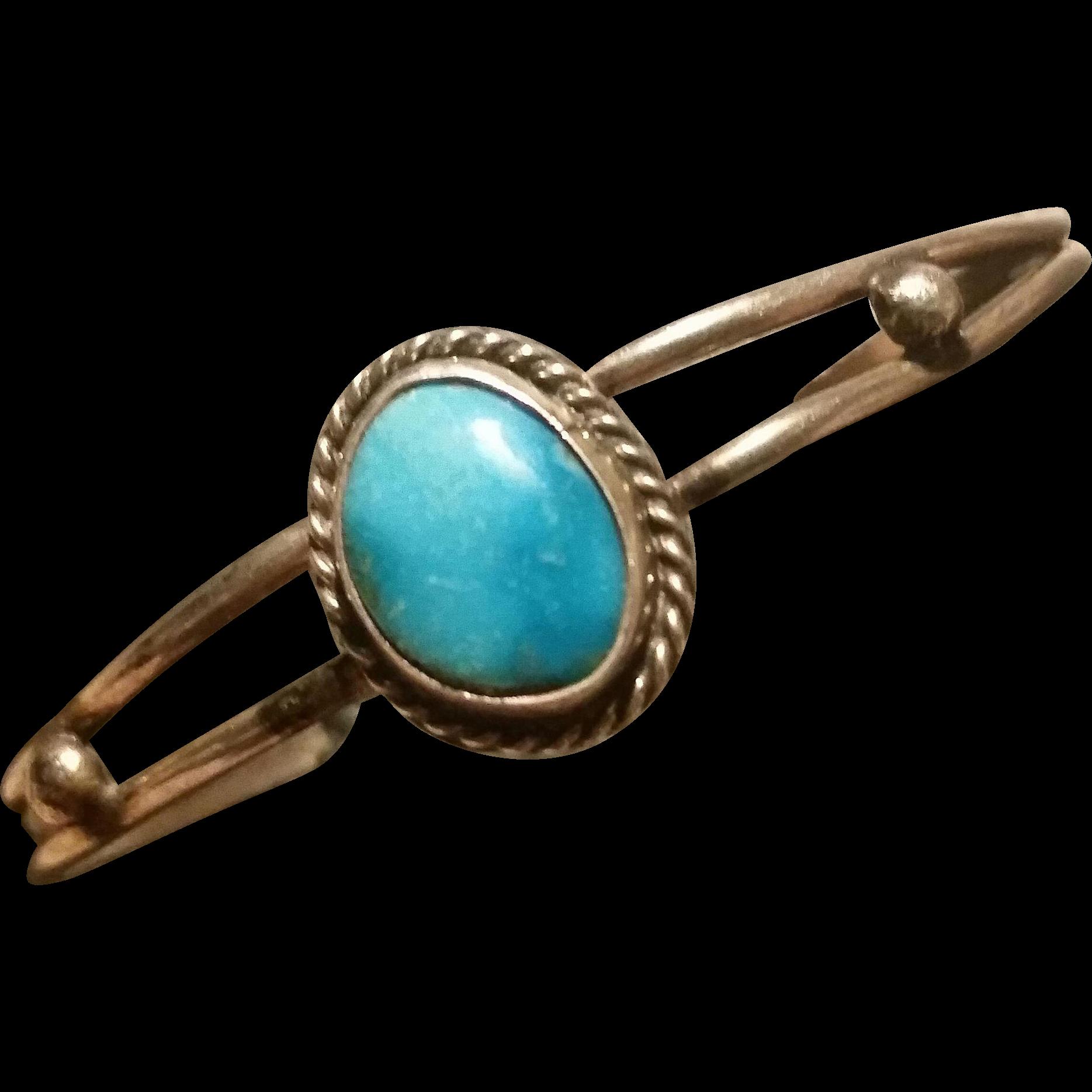 Petite Silver Turquoise Bracelet