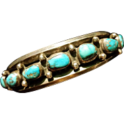 Turquoise & Silver Traditional Row Bracelet