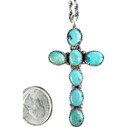 Large Turquoise & Silver Cross on chain