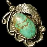 Pendant Large Turquoise w/ Feather Embellishment