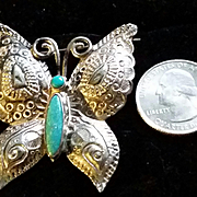Turquoise & Silver Navajo Butterfly Brooch