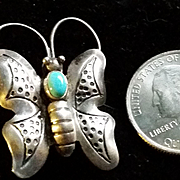 Navajo Silver Turquoise Insect Butterfly Pin