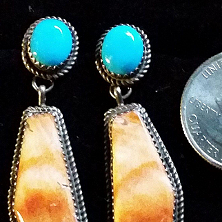 Stunning silver turquoise & spiny oyster shell earrings