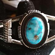 Navajo Turquoise & Silver Bracelet P. Sanchez
