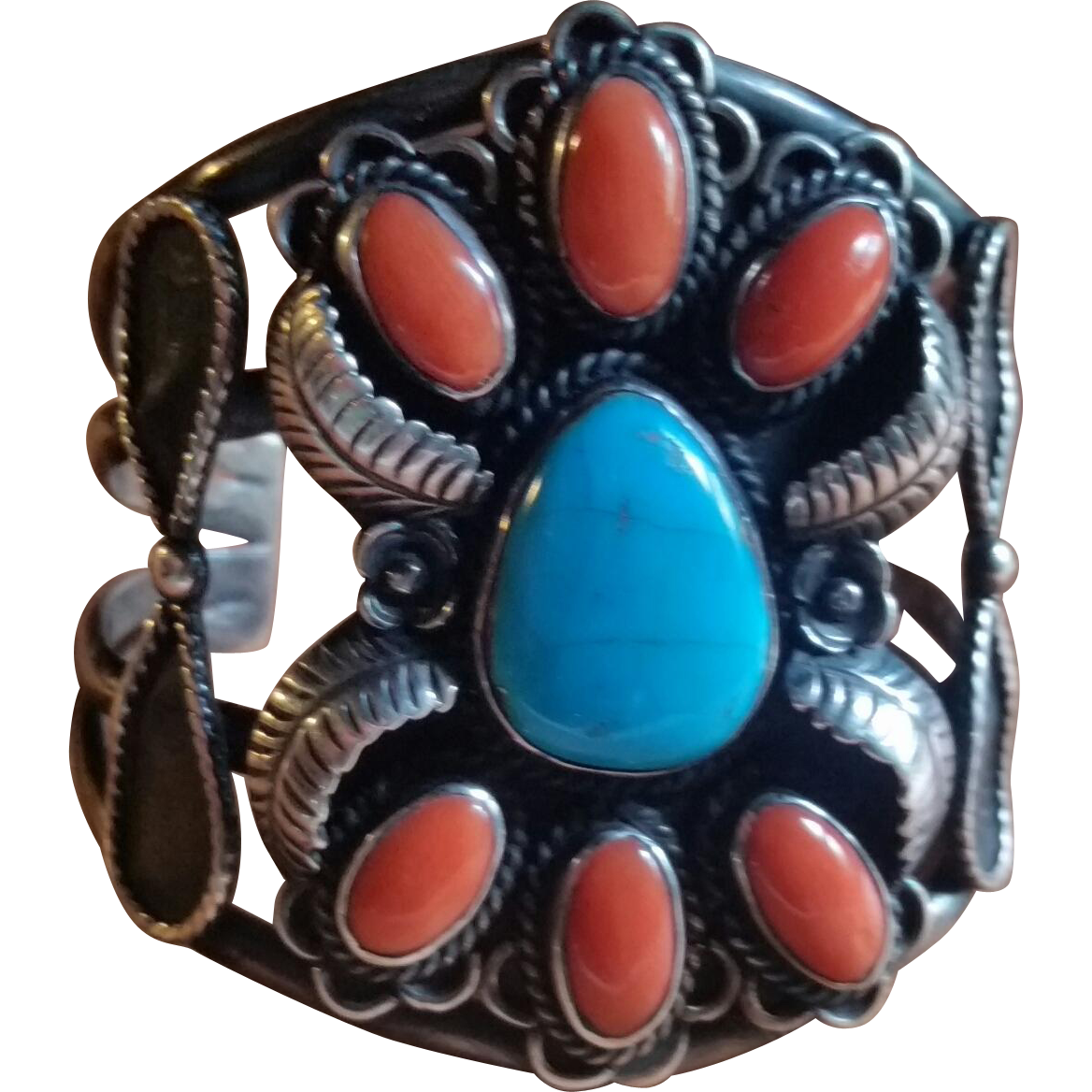 1970s Coral Turquoise Silver Navajo Cuff Bracelet