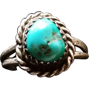 Turquoise & Silver Child's Ring sz3