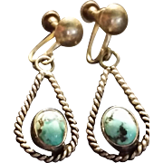 Older Turquoise & Silver Pendant Earrings