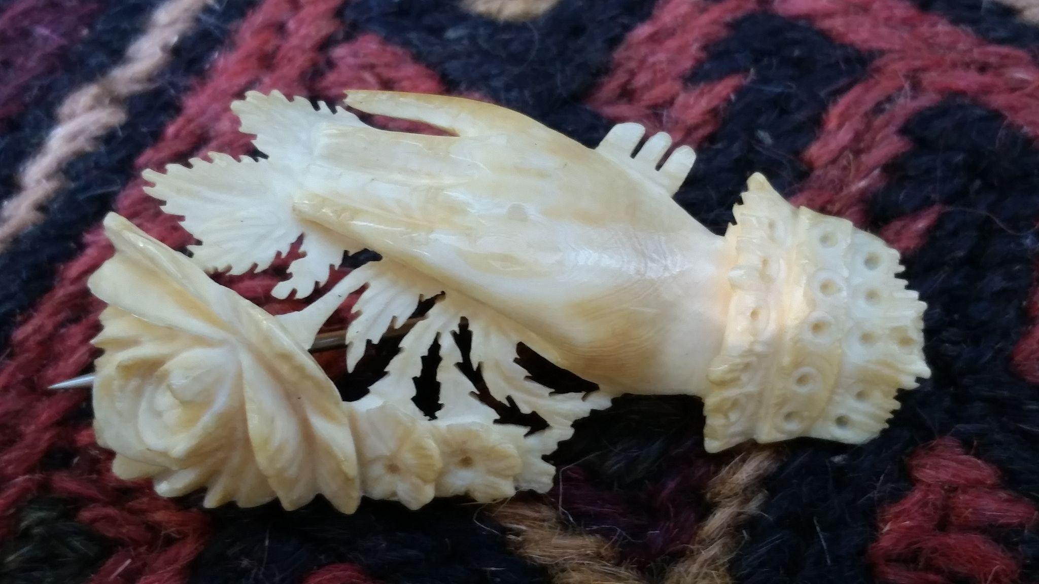Victorian Carved Brooch of a Hand Holding a Rose
