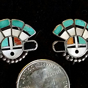 Zuni Stone Inlay Mask Earrings sterling silver