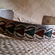 Silver Coral & Turquoise Inlay Bracelet Great for Stacking