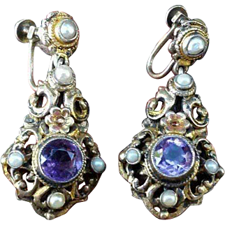 Gilt Sterling Silver Amethyst & Pearl Austro Hungarian Screwback Pendant Earrings