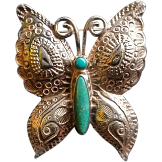 Ornately Stamped Butterfly Brooch Sterling Turquoise