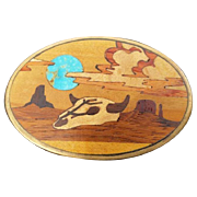 Turquoise Wood Inlay Cow Skull Southwestern Belt Buckle