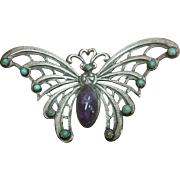 Stunning Large Mexican Silver Turquoise Amethyst Butterfly Brooch